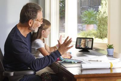 A family making a video call